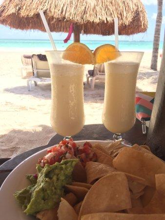 Secrets Maroma Beach Riviera Cancun: Pina Coladas and Chips & Guac by the beach!