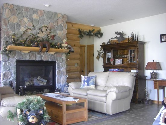 Alma, CO: The Lower Great Room with one of 8 fireplaces.