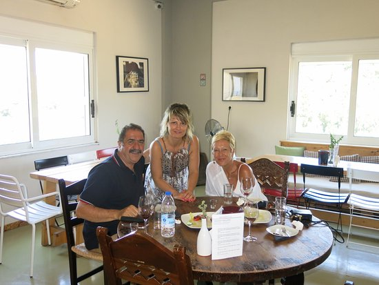 Anoskeli Winery: Efi, with our guide, Dimitri and my lovely wife.