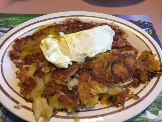 Lady Lake, FL: hash eggs and well done potatoes