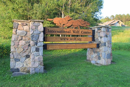 This sign greets visitors to the International Wolf Center in Ely, Minnesota.