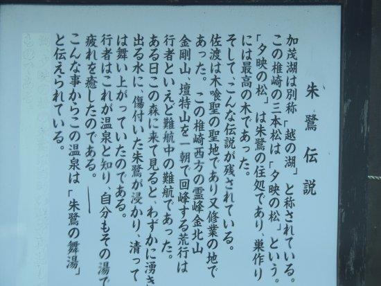 Sado Green Hotel Kiraku: 朱鷺の舞湯の由来