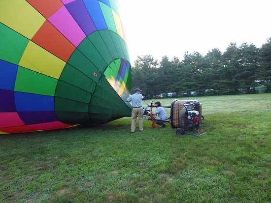Above Reality Inc. Hot Air Balloon Rides: Prepping the balloon for flight