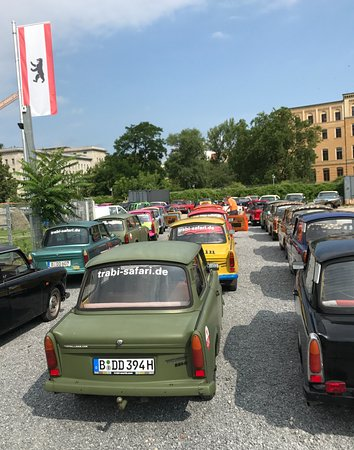 Trabi-Safari - TrabiWorld Berlin: Cars lined up and ready to go