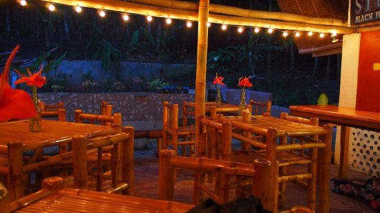 Jagna, Filipinas: The inside of the bar at Augustin's. Hopefully the pond will be up and running soon.