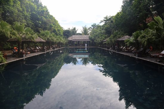 Pilgrimage Village: The larger of the two pools, with poolside bar