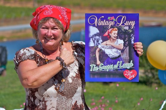 Naggiar Vineyard & Winery: Diane Naggiar during Harvest Festival Grape Stomping