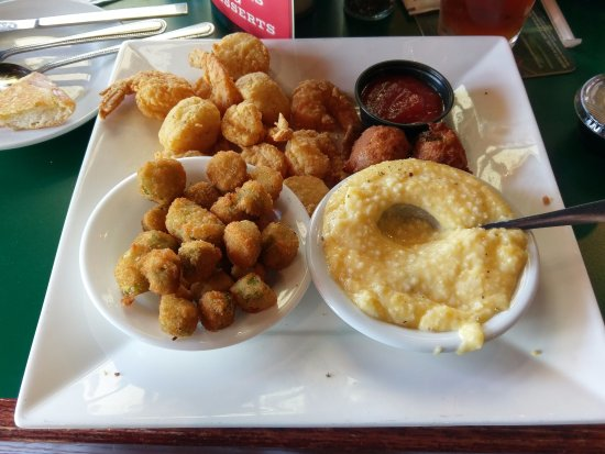 Greenville, AL: Fried---shrimp, scallops, hush puppies and okra...with cheese grits.