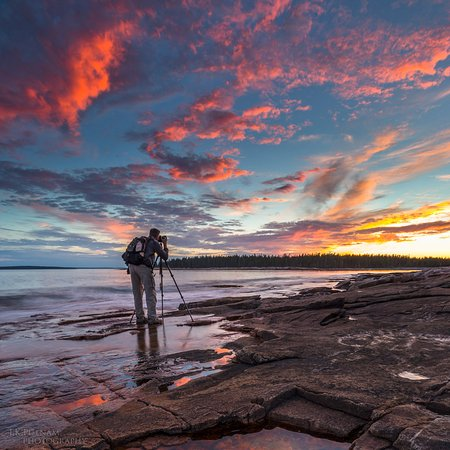 Southwest Harbor, ME: A photographer capturing a pretty darn good sunset at Wonderland in Acadia National Park, Maine.