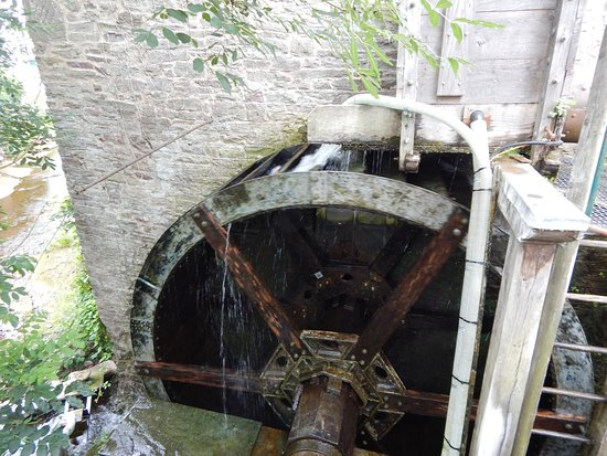 Talgarth, UK: The water wheel on the side of the mill