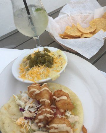 Blacksburg, VA: Four basic Cabo food groups - chips, margs, jalepeno mashers and fish tacos!