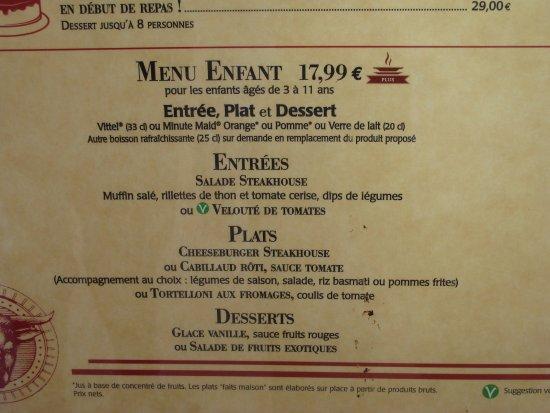 prix carte enfant + prix au restaurant