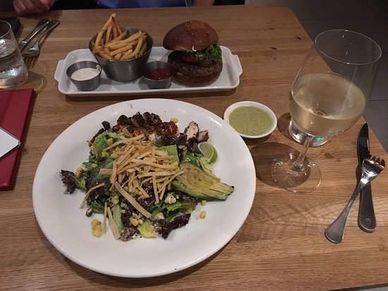 Tysons Corner, VA: The Sante Fe Chicken Salad + glass of Sauvignon Blanc.