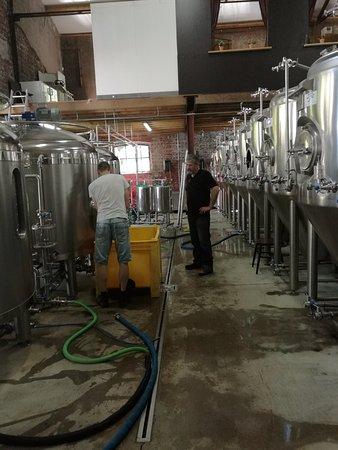 Weert, The Netherlands: Links de brouwketels waarin het gerstennat wordt gekookt, rechts de ketels waarin bier ontstaat.