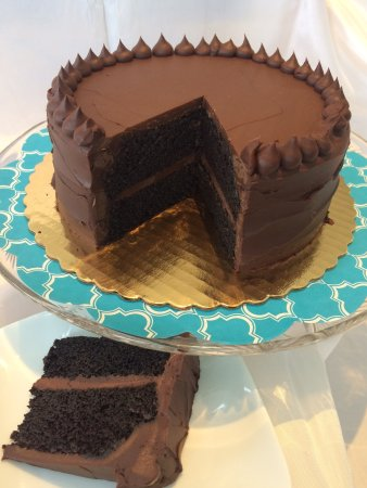 Manchester, VT: Double Chocolate Ganche Cake, moist dark chocolate cake with dark chocolate ganache.