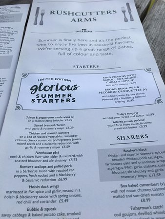 Menu Picture Of Rushcutters Arms Thorpe St Andrew Tripadvisor