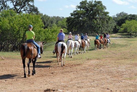 Mayan Dude Ranch: Trail ride departs on the Mayan Ranch