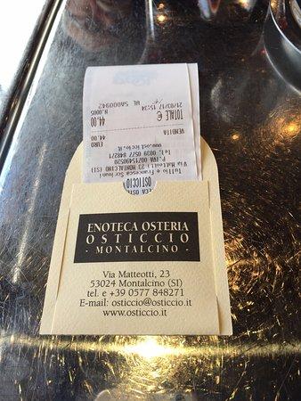 Enoteca Osticcio Osteria: conta do vinho