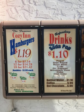 Salina, KS: Cozy Inn menu