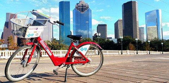 BCycle near Sabine Bridge station at Buffalo Bayou Park