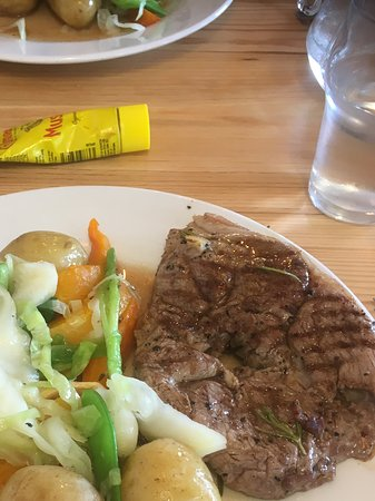 Birchington, UK: Marinated lamb steak potatoes and fresh veg