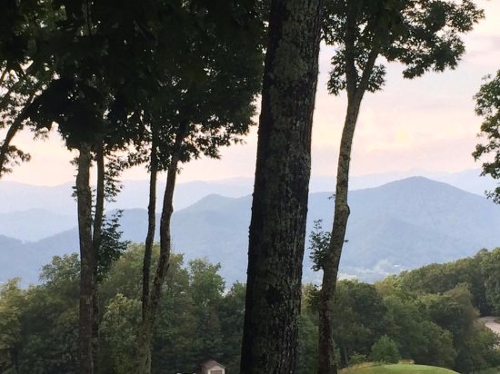 Burnsville, NC: main deck view of Mountains and trees