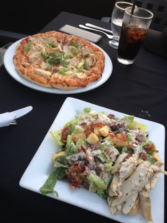 Bedford, Canada: Chicken Caesar salad and BBQ chicken pizza.
