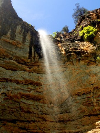 Compton, AR: Looking up at Hemmed-in Hollow-Falls