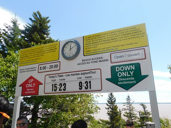 Hopewell Cape, Canada: The sign board which is changed to show the days low and high tide timings.
