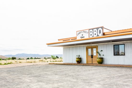 Come & Take It BBQ, two miles west of Alpine, Texas, away from town, with a view of mountains!