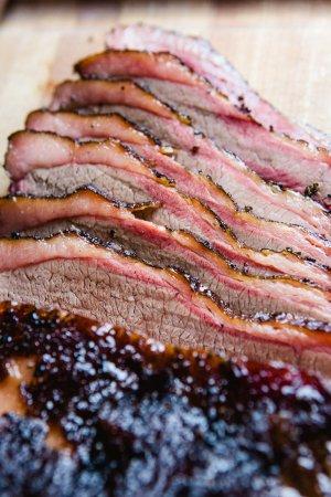 Alpine, TX: Sliced brisket hot off the smoker.