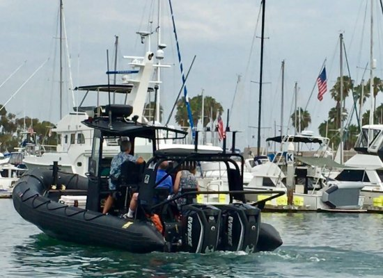 DANA POINT HARBOR, Cool Blacked Out ZODIAC (buckle up, 600-horsepower engine)