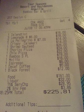 Bamboo Bar and Grill at Viceroy Anguilla: Final bill, no charge for Omalie!