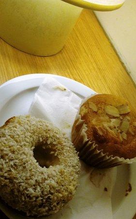 Davis, CA: Two of their vegan pastries under their cute table lamp