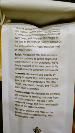 Davis, CA: Back of coffee bag with info on their environmental and social impact.