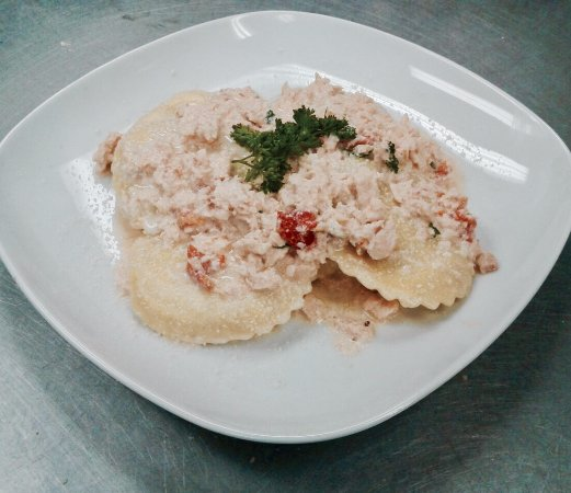 Germantown, MD: Cheese Ravioli with fresh Salmon