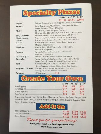 Fort Smith, Kanada: Takeout menu