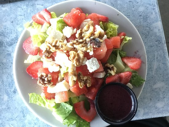 Bath, ME: Watermelon and strawberry salad with blueberry vinaigrette