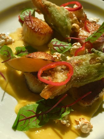 Cranford, NJ: NJ Sea Scallops  Grilled peach, tempura fried squash blossoms, Fresno chilis, corn puree