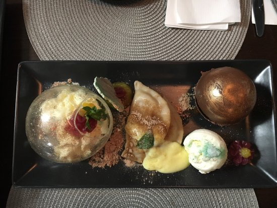 Here's the delicious and beautiful dessert from MK restaurant in Hanmer Springs. A work of art!