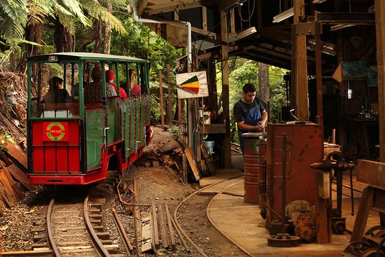 Coromandel, New Zealand: The present day Driving Creek Railway climbs 2.7km from the Base Station at 55m above sea level.
