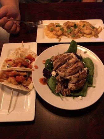 Shrimp tacos, spinach salad and more
