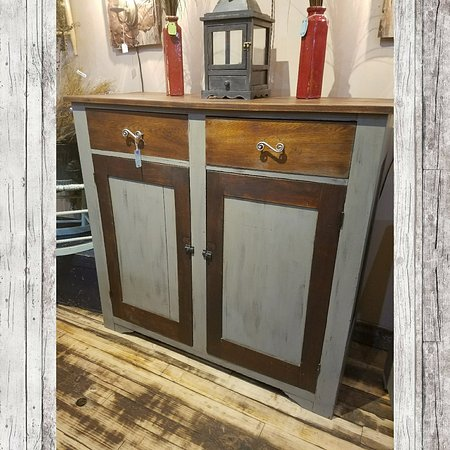 Jelly cupboard,  stained & dark grey. $374.99