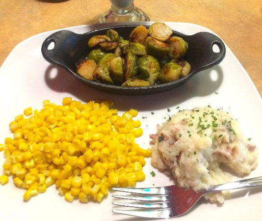 Saint Charles, IL: Fresh corn, grilled brussel sprouts, and fresh-mashed red skin potatoes.