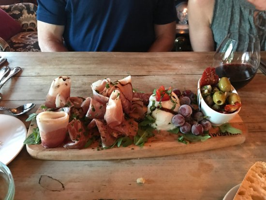Vineyard Haven, MA: Squash Blossoms with ricotta  Superb antipasto platter (huge, fabulous assortment of meats, chee