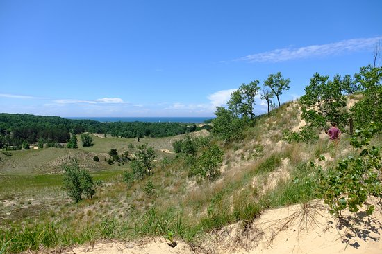 Saugatuck, MI: View of lake Michigan from the top