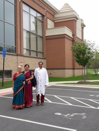 "Chantilly, VA: In front of ""Chinmaya Somnath"" with Family"