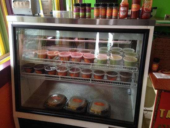 Elberta, MI: Cooler with salsas and Grab 'n Go Options if your in a rush