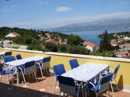Blick über Splitska auf das Festland
