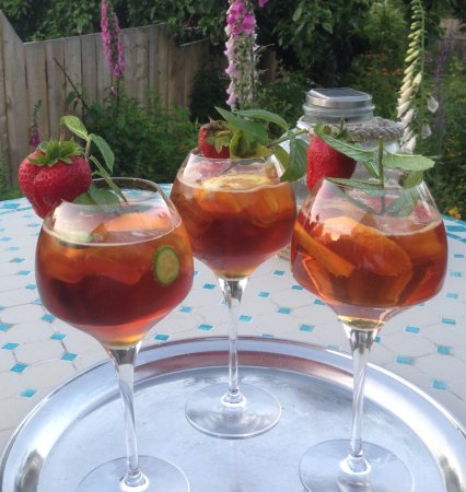 Warkworth, UK: Wimbledon Pimms on the patio before your meal?